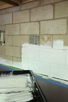 Painting Kitchen Tile Backsplash How To Paint A Tile Backsplash Bright Green Door