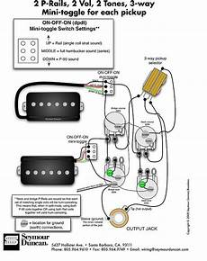 seymour duncan p rails wiring diagram 2 p rails 2 vol 2 tone off toggle for each