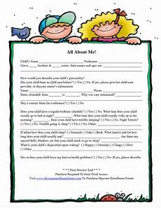daycare enrollment forms child care registration forms