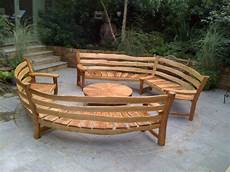 curved oak garden benches