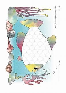 Malvorlage Fisch Mit Schuppen Kindergarten Kigaportal Sommer Meer Fische Ausmalbild