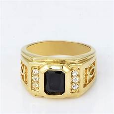mens yellow gold filled square black onyx wedding bands