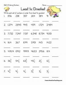 decimals greatest to least worksheets 7202 ordering numbers worksheet fifth grade 2