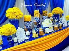 jemari kreatif design candy buffet royal blue and mustard yellow theme in 2019 blue yellow