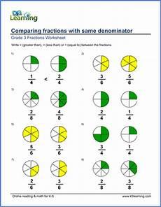 fraction worksheets same denominator 4099 grade 3 math worksheets compare fractions with like denominators k5 learning