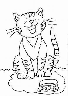 Malvorlage Katze Einfach Kostenlose Malvorlage Katzen Katze Mit Futternapf