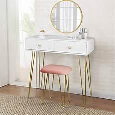 schminktisch mit spiegel und hocker schminktisch mit hocker spiegel 2 schubladen modern gold