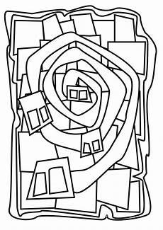 ausmalbilder kunst grundschule hundertwasser feuilles de travail d dessin abstrait
