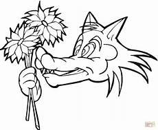 ausmalbild wolf mit blume ausmalbilder kostenlos zum