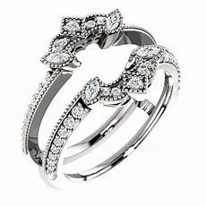 diamonds ring guard wrap white gold solitaire enhancer wedding vintage milgrain ebay