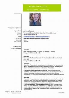 curriculum vitae per curriculum vitae europeo esempio compilato insegnante