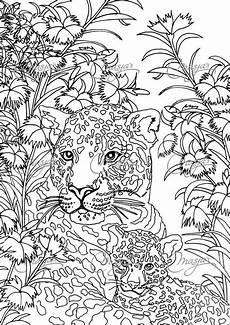 Ausmalbilder Erwachsene Leopard Items Similar To Masja S Leopards Coloring Page On Etsy