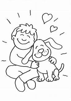 Ausmalbilder Junge Hunde Ausmalbild Hunde Junge Und Hund Kuscheln Kostenlos Ausdrucken