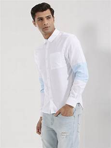 buy koovs contrast patch shirt for s white