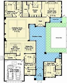 single level house plans with courtyard florida house plan with wonderful casita 42834mj