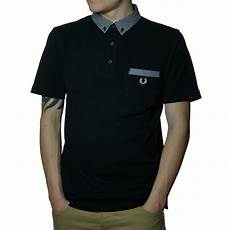 fred perry s gingham trim polo shirt in black fred
