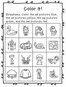 s blends sn sk sw sp phonics worksheets no prep by nielson