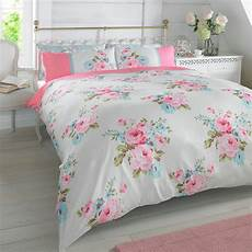 duvet quilt cover with pillowcase bedding set floral rosie pink blue white roses ebay