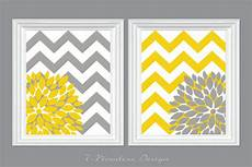 Etsy Yellow And Gray Bathroom by Flower Bursts With Chevron Zig Zags Modern Home Wall