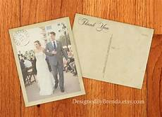 thank you cards template wedding back vintage wedding thank you postcards with postmark photo