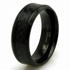 mens stainless steel black carbon fiber engravable wedding