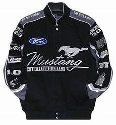 ford mustang racing jacket collage mens black twill jacket