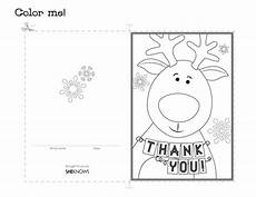 Thank You Card Template Pages by Reindeer Thank You Card Free Printable Coloring