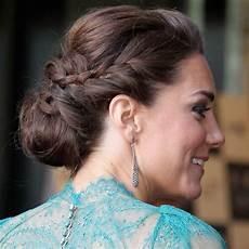 kate middleton wears a braided bun up do popsugar