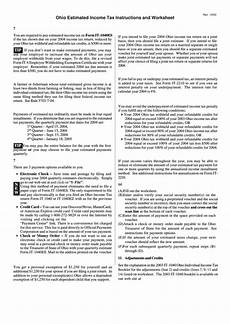 form it 1040 es ohio estimated income tax instructions and worksheet 2004 printable pdf download