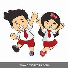 Kartun Anak Sekolah Vector Png Jpg Desaintasik