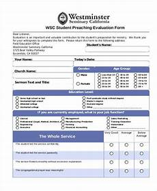 free 7 sermon evaluation form sles in sle exle format