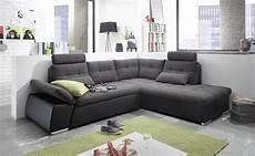 couch mit ottomane ecksofa jak couch schlafcouch sofa lederlook schwarz grau