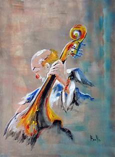 tableau figuratif musicien clown contrebasse peintures
