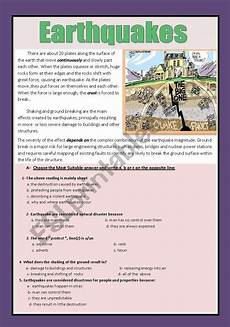 nature reading comprehension worksheets 15108 reading comprehension earthquakes esl worksheet by aaisha86