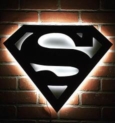 new silver and black superman man of steel illuminated comicbook superhero led logo for