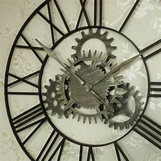 large iron industrial style skeleton cog wall clock shabby
