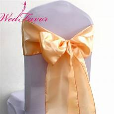 100pcs peach wedding satin chair bow ties satin chair sashes for banquet event party decoration