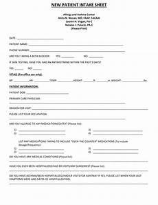 new patient intake sheet allergy and asthma center