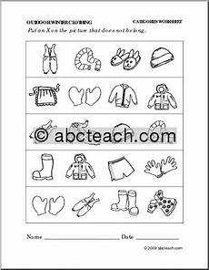 winter clothes worksheets 19966 worksheet winter clothing categories preschool primary abcteach