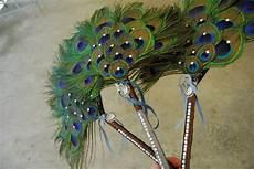 diy peacock feather fan bouquet for bridesmaids