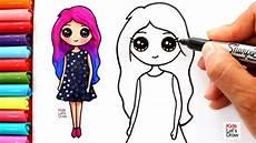 Aprende A Dibujar Una Chica Kawaii Con Cabello De Colores