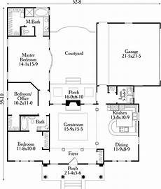 courtyard house plans u shaped house plan 40027 with 3 bed 2 bath 2 car garage u