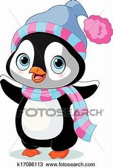 clipart inverno winter penguin clipart k17086113 fotosearch