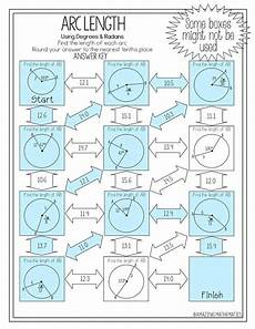 motion geometry worksheets 807 this arc length maze is composed of 11 circles with arc measures in either degrees or radians