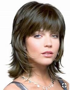 medium length shag hairstyles with bangs pin on hair