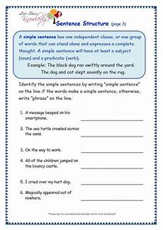 sentence structure worksheet simple sentence structure