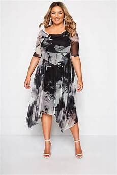 yours black grey marble midi dress with cowl neck