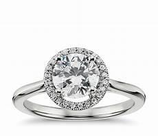 plain shank floating halo engagement ring in 14k white gold blue nile