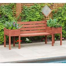 leisure season wooden medium brown patio planter bench pbb7821 the home depot