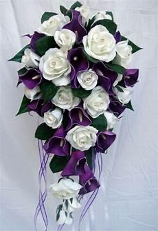 wedding bouquet purple calla roses diamante ebay